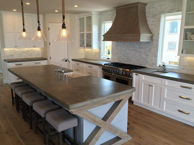 Big Kitchen Island French Country Concrete Countertops
