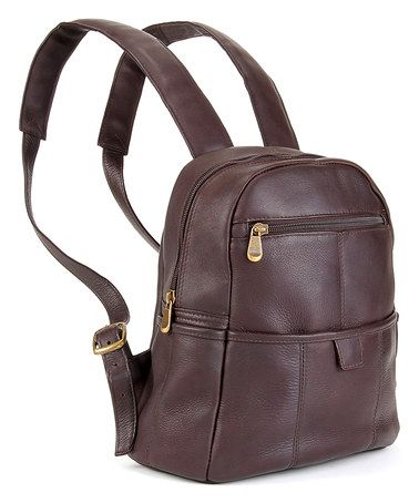 3d37556a41 Look at this  zulilyfind! Cafe Zip-Accent Leather Backpack by Le ...