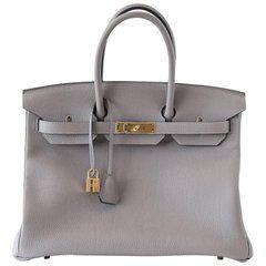 5772f9d47f53 Hermes Birkin 35 Bag Gris Asphalte Togo Gold Hardware
