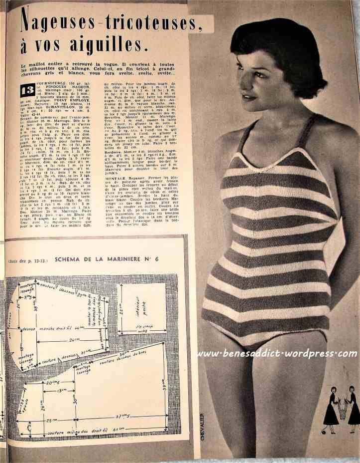 Revue Vintage « Elle Tricots De Vacances » Mai 1949, du tricot, des ...