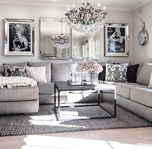 69 Fabulous Gray Living Room Designs To Inspire You: Leraze Beautiful Mirrored Tray With Chrome Rails, Elegant