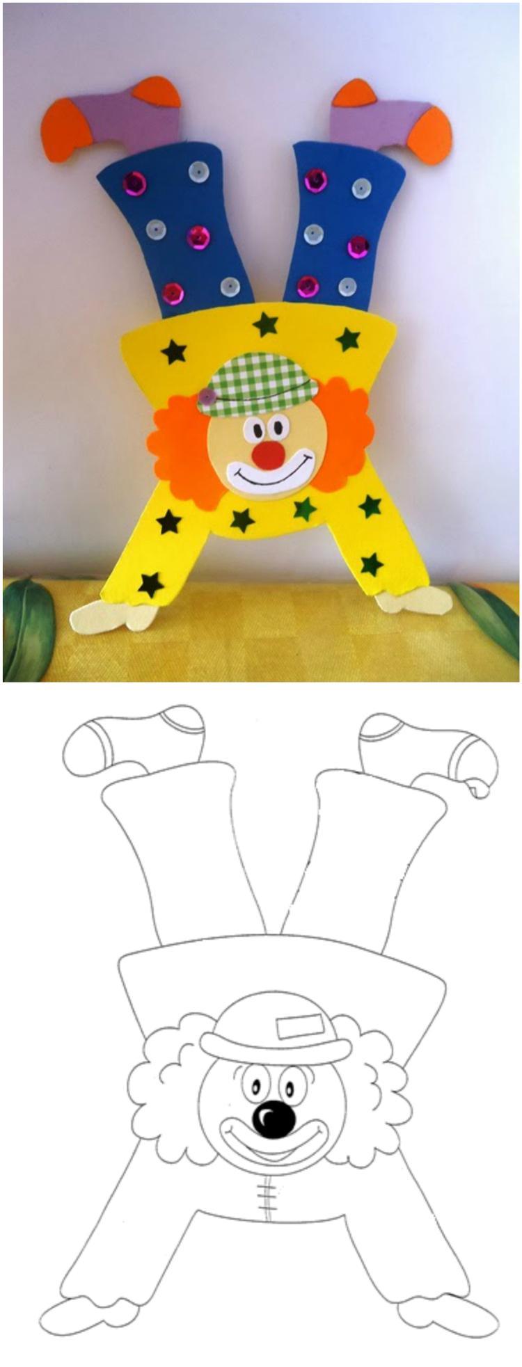 Clown Basteln Mit Kindern Aus Tonpapier Klorollen Pappteller Und Co In 2020 Clown Basteln Vorlage Clown Basteln Fasching Basteln