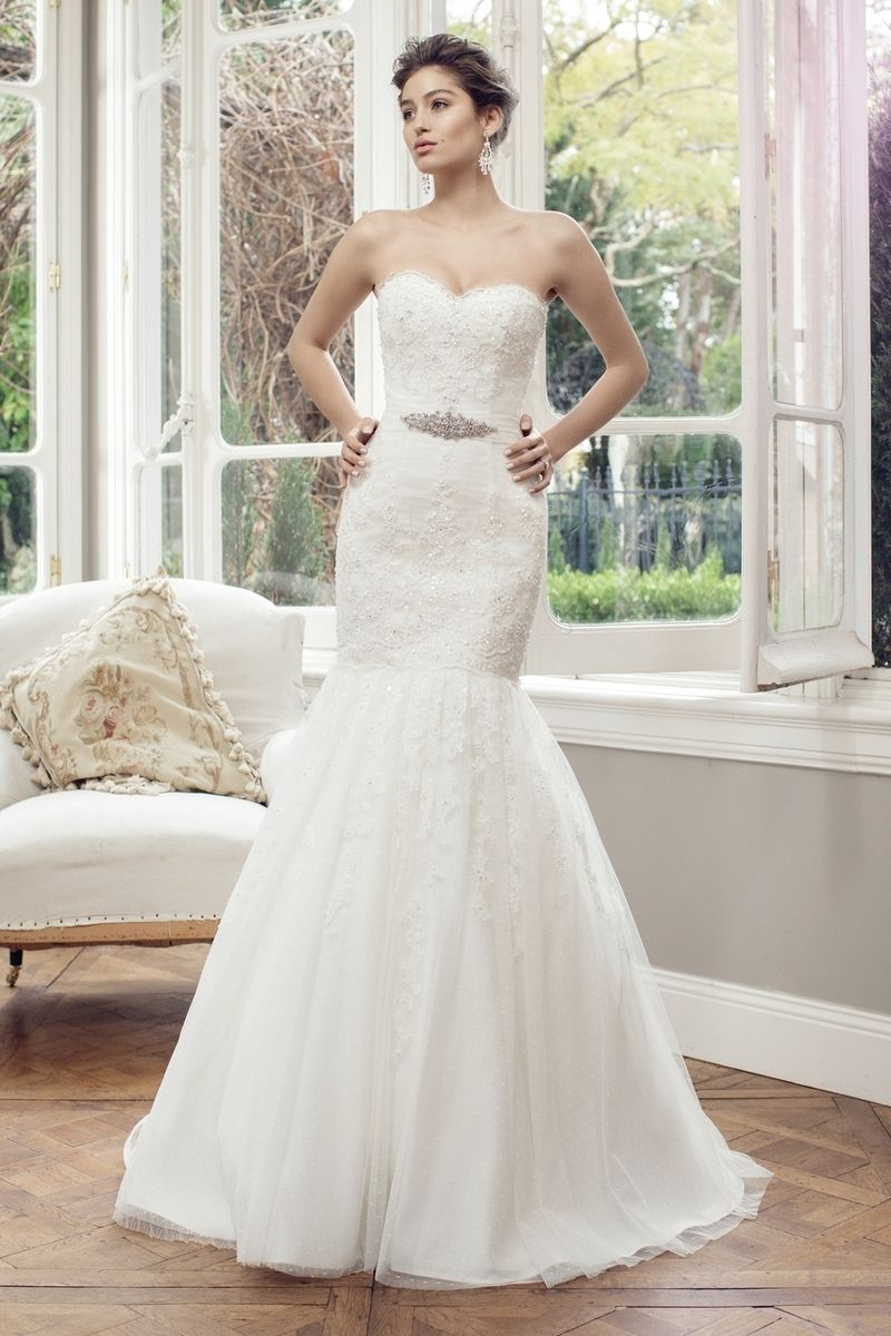 White and silver wedding dresses  Mia Solano  Tulle Mermaid Wedding Dress  Astin  ML