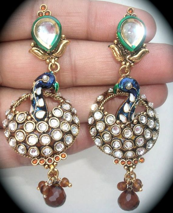 Beautiful Peacock Earrings with Dangling Beads by SynasCollection, $25.00