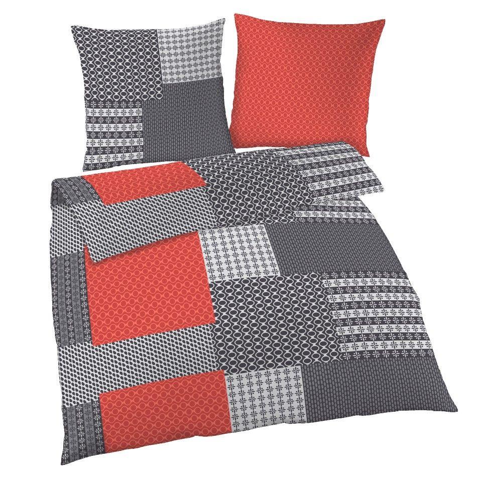 Biber Bettwasche Kettenmuster 155x220 Rot Grau