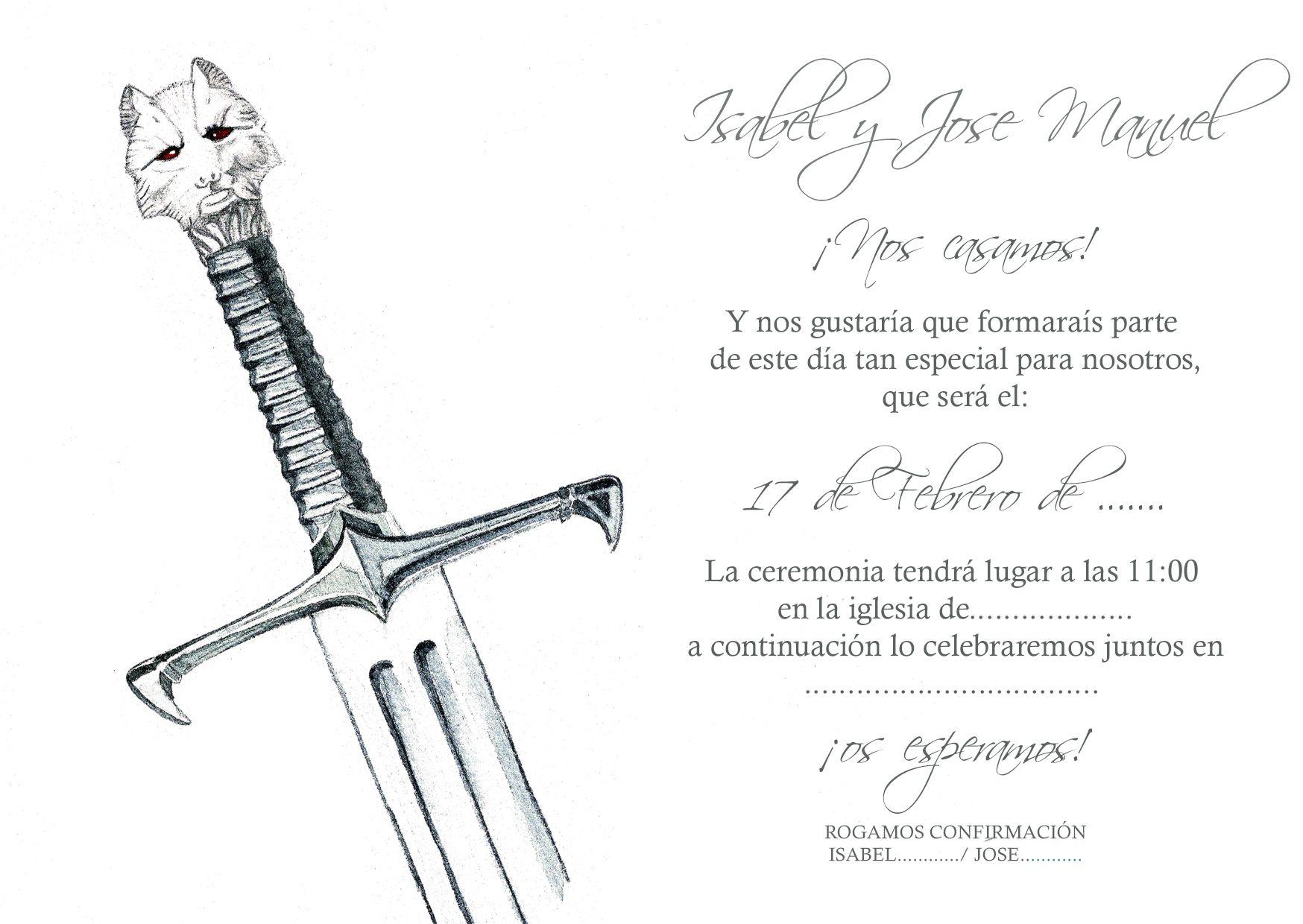 Frase De Matrimonio Juego De Tronos.Invitaciones Boda Personalizadas Juego De Tronos Invitaciones