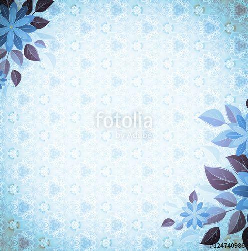 Vintage vignette with floral corners, blue