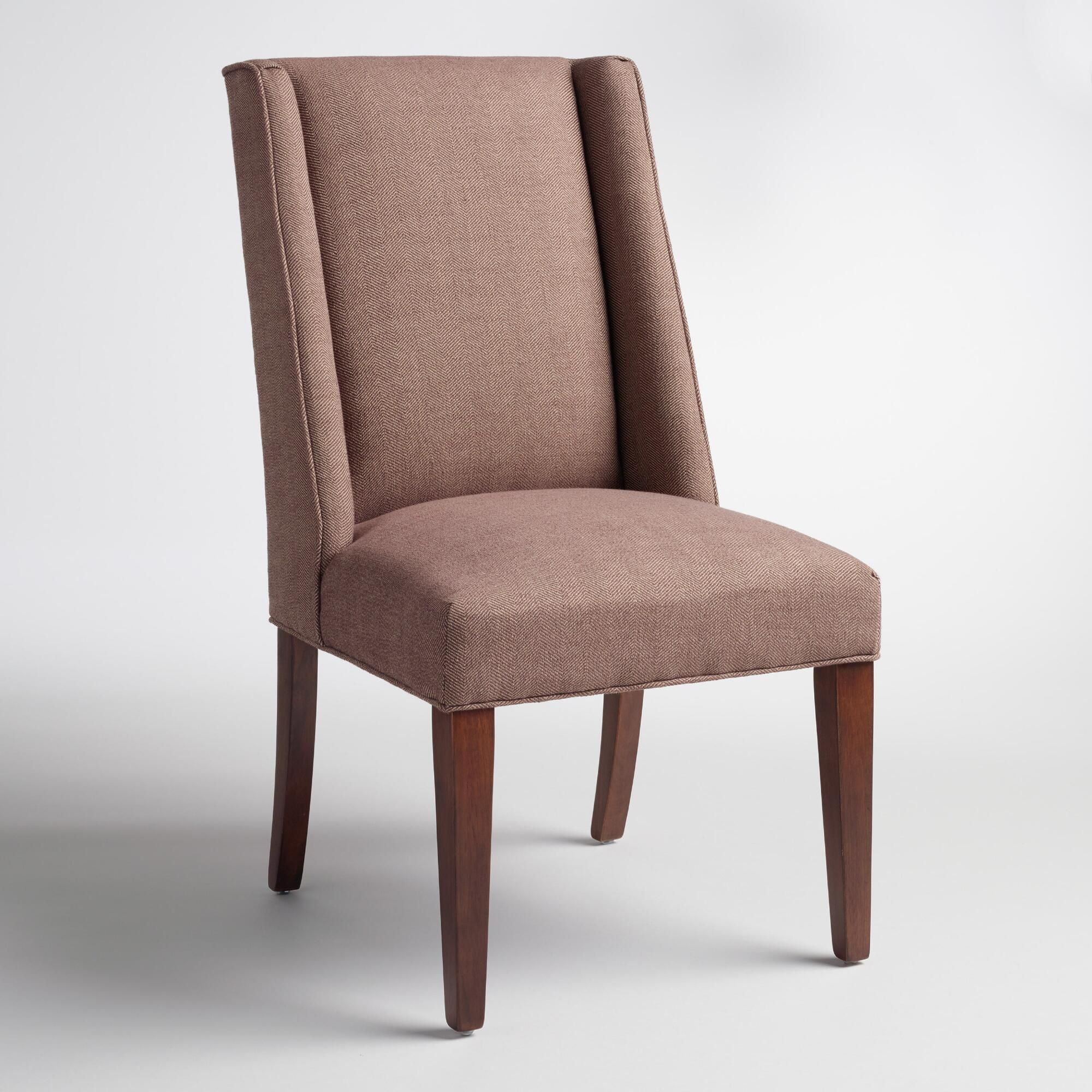Covered in rich cocoa brown herringbone fabric our handsome side chair boasts a subtle wingback profile for a classic look