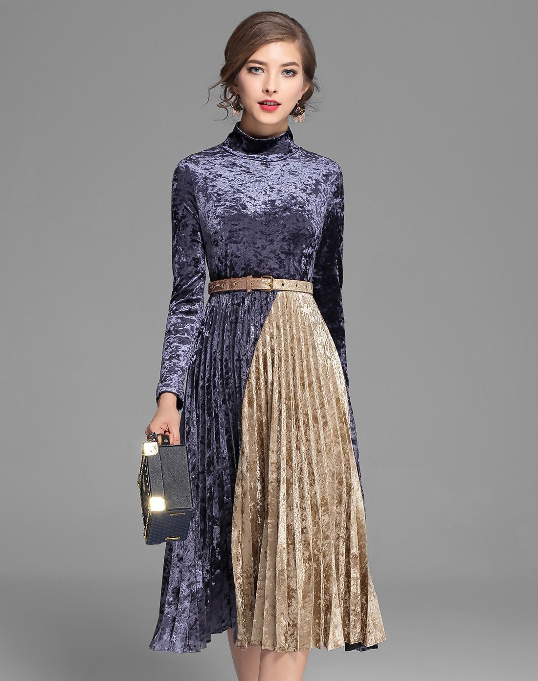 c12a6e924321 Shop Purple Long Sleeve Velvet Pleated Midi Dress. VIPme.com offers quality  Purple