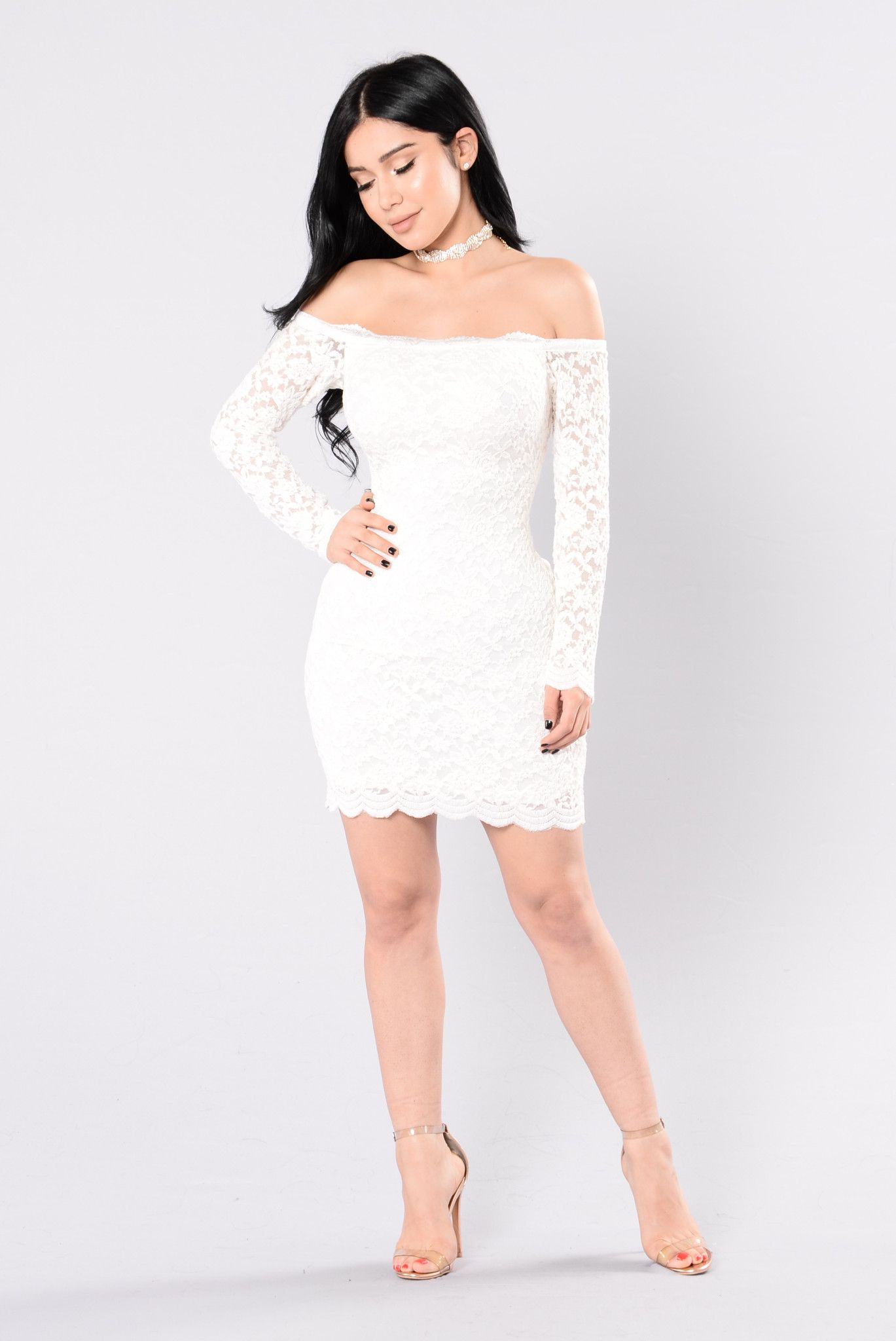 bc4a7c914376 Available in Black and White Off Shoulder Lace Trim Long Sleeve Lace Overlay  90% Cotton 10% Polyamide