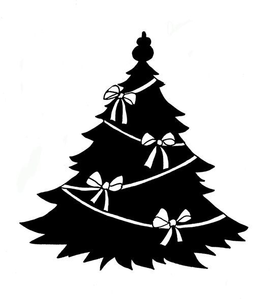 Black And White Christmas Ribbon Clipart Christmas Silhouettes Black Christmas Tree With W Christmas Tree Silhouette Silhouette Christmas Christmas Tree Images