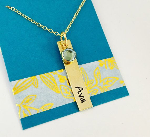 "This is a solid brass necklace with one 1 1/4"" rectangular tag and Swarovski Channel Crystal. C"