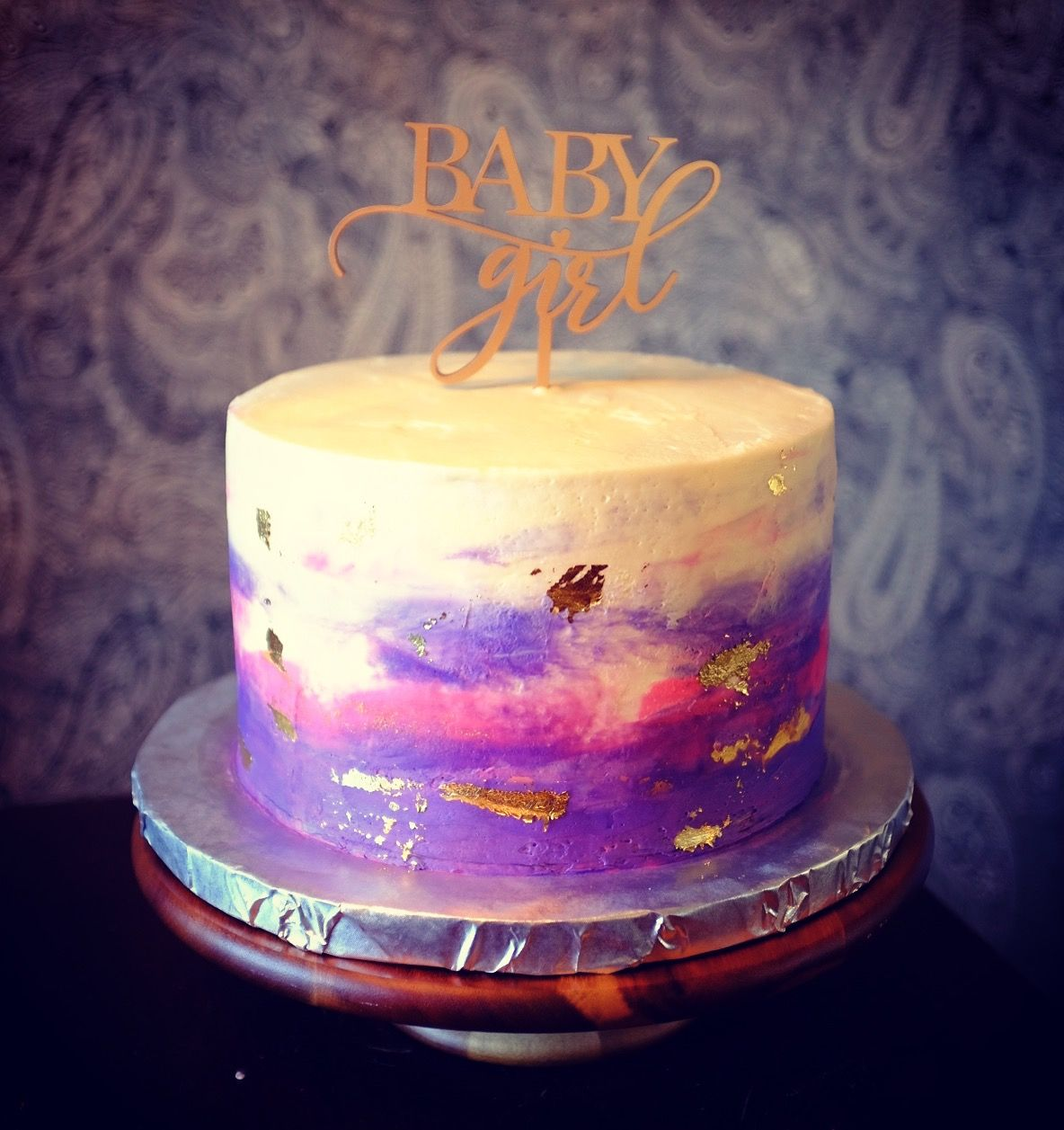 Purple And Pink Watercolor Cake With Gold Leaf With Images