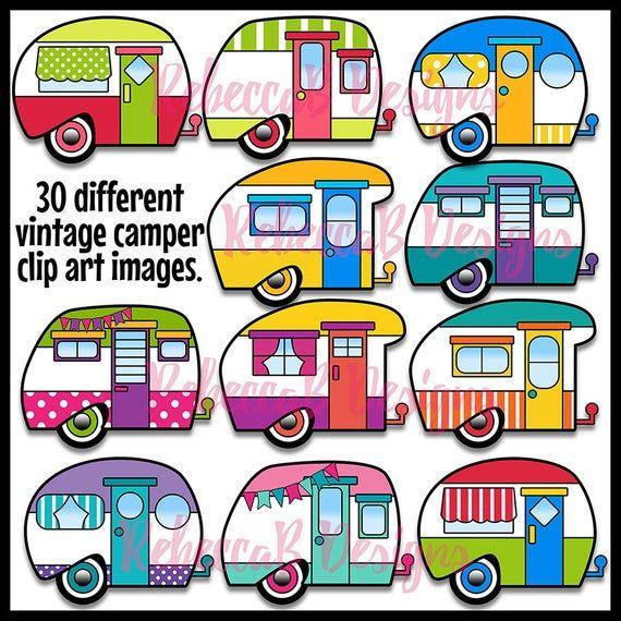 Vintage Camper Clip Art, Retro Camper Clipart, Vintage Trailer, Retro Clip Art, Vintage Clip Art #clipartfreebies