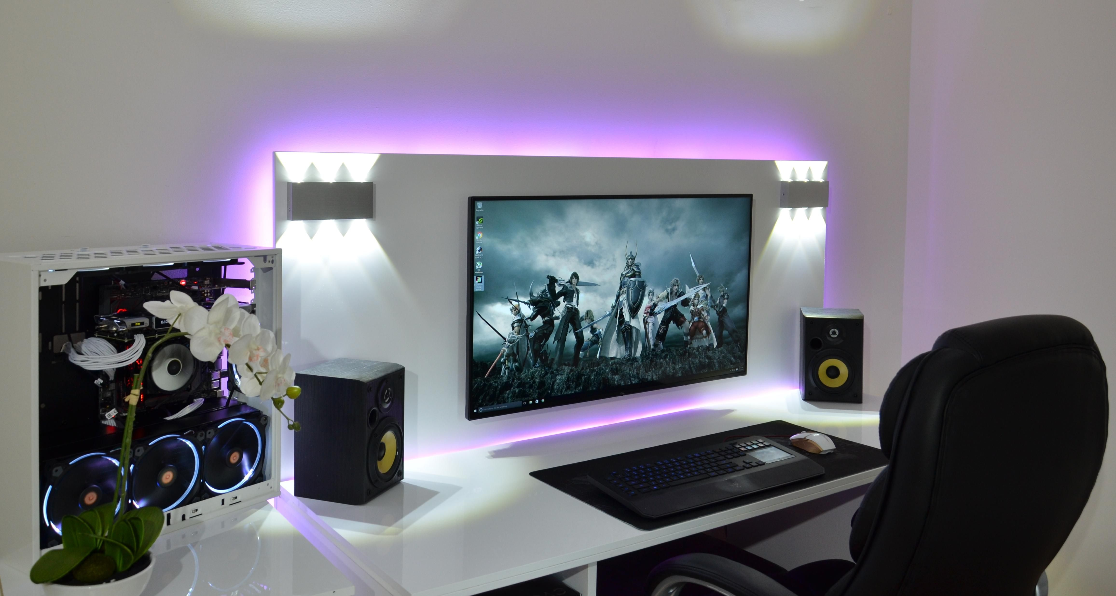 Hey Reddit I Know You Guys Like White Setups So Here S My Newest One For July R Battlestations Computer Setup Gaming Room Setup Desk Setup