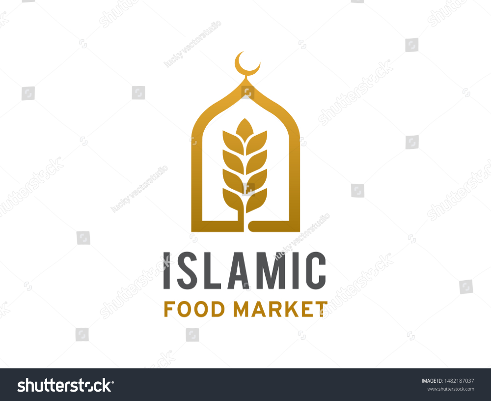 Islamic Food Market Logo Symbol Icon Stock Vector (Royalty