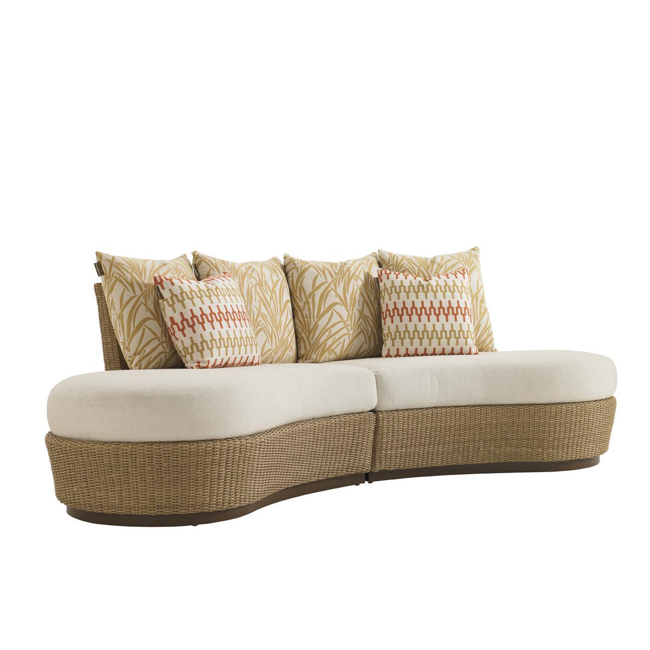 Tommy Bahama Aviano Wicker Patio Armless Sofa W Sunbrella Fabric By 3220 82l Cs3220 82l B 3220 82r Cs3220 82r B 3220 82c Sofa Rattan Sofa Tommy Bahama