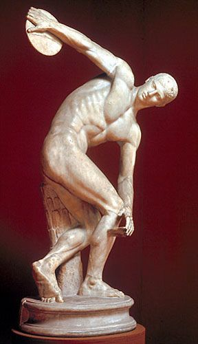 Early Classical Sculpture Myron Discobolos 450b C Sculpture Ancient Greek Art Roman Art