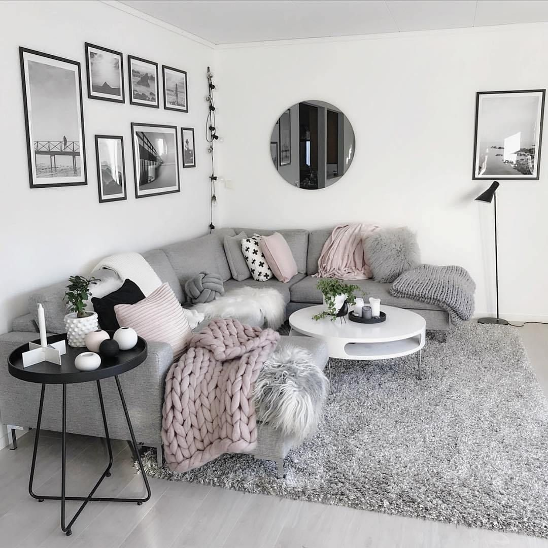 Loving This Light Grey Modern And Cozy Living Room Decor Livingroom Decor Living Room Decor Apartment Living Room Decor Cozy Small Modern Living Room
