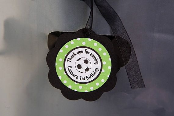 Soccer Favor Tags Birthday Party - Green & Black