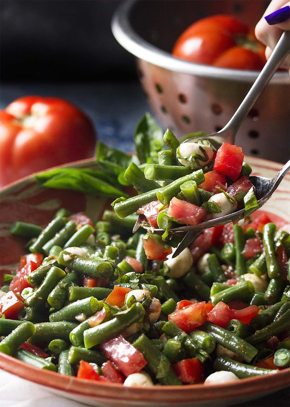 Italian Green Bean And Tomato Salad With Balsamic Dressing Recipe Italian Green Beans Green Beans Salad With Balsamic Dressing