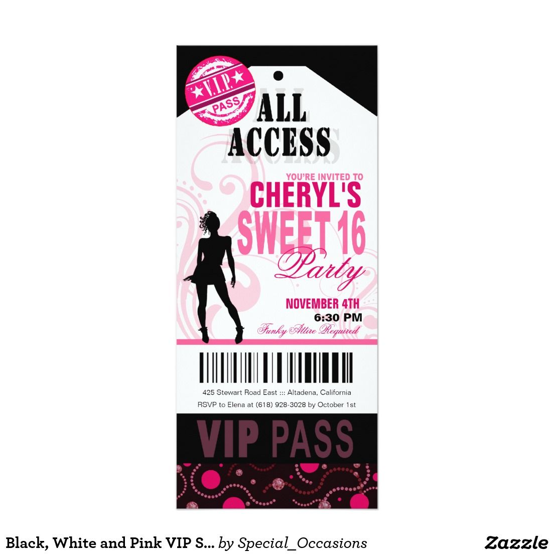 Black, White and Pink VIP Sweet 16 Ticket Party Invitation | SWEET ...
