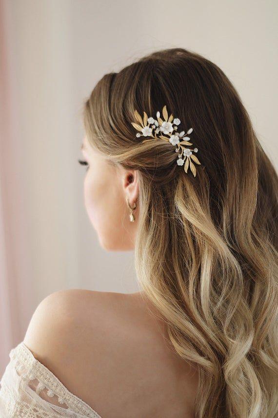 Bridal floral hair pin Bridal leaf headpiece Wedding moter of pearl hair pin Bridal hair piece Bridal botanical hair comb Wedding hair piece