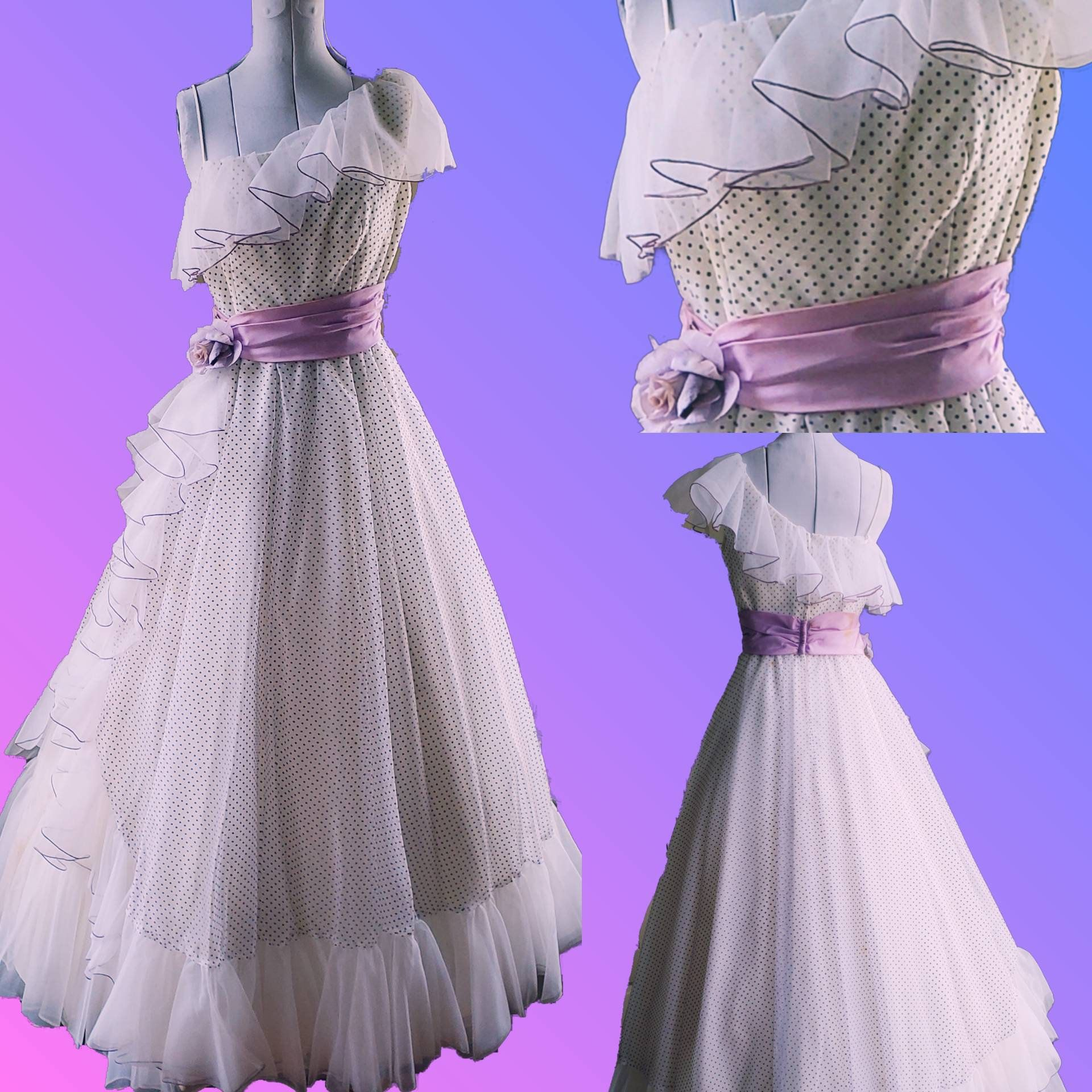 80s Prom Dress Sale Vintage Prom Dress White Chiffon Etsy Prom Dresses Vintage 80s Prom Dress Polka Dot Prom Dresses [ 1920 x 1920 Pixel ]