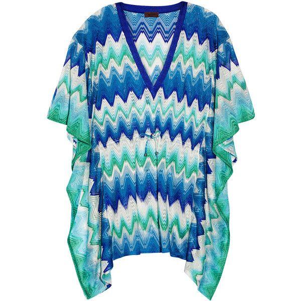 Missoni Mare crochet-knit kaftan ($675) ❤ liked on Polyvore featuring tops, tunics, kaftan tunic, loose tops, crochet knit top, caftan tunic and crochet swim top