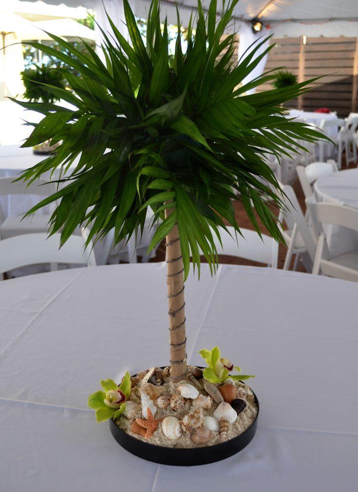 miniature palms for centerpieces | Miniature palm tree centerpiece for  beach theme party - Miniature Palms For Centerpieces Miniature Palm Tree Centerpiece