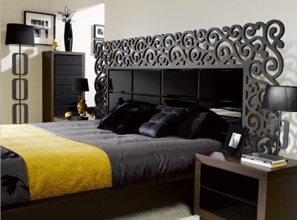 Dormitorio frontales en piel sintética y cabecero cristal negro ...
