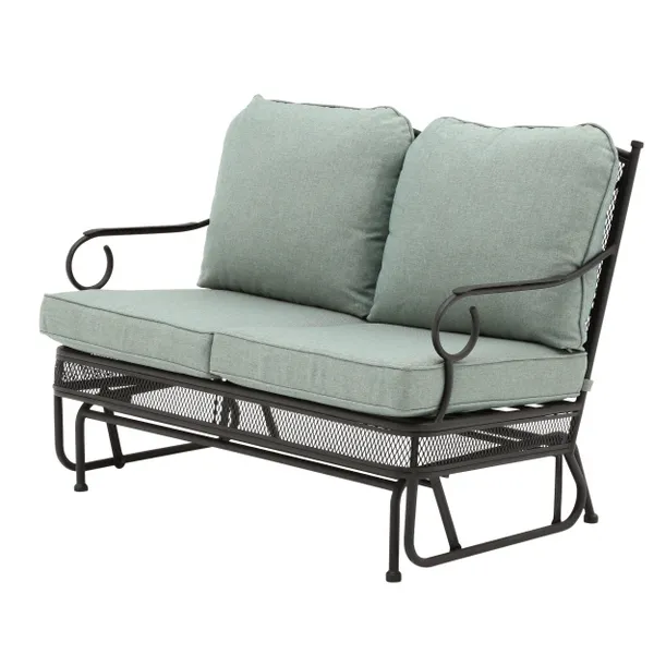 Hampton Bay Amelia Springs Outdoor Glider With Spa Cushions Fg Mdlgdr The Home Depot In 2020 Outdoor Glider Outdoor Glider Chair Spring Outdoor