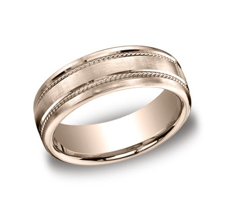 Benchmark CF717504RG Rose Gold 7.5mm Satin-Finished Wedding Band #SkatellsGreenville #SkatellHim