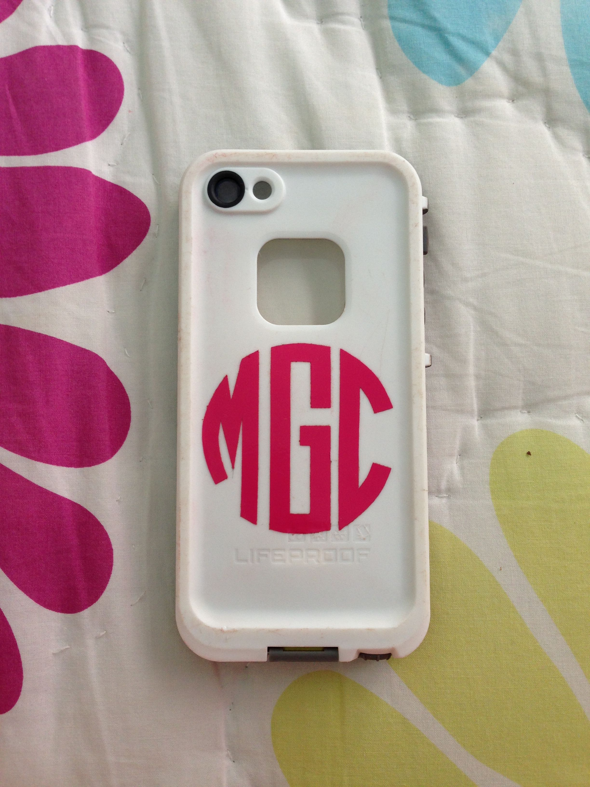 Lifeproof iphone 5 case with monogram sticker from etsy