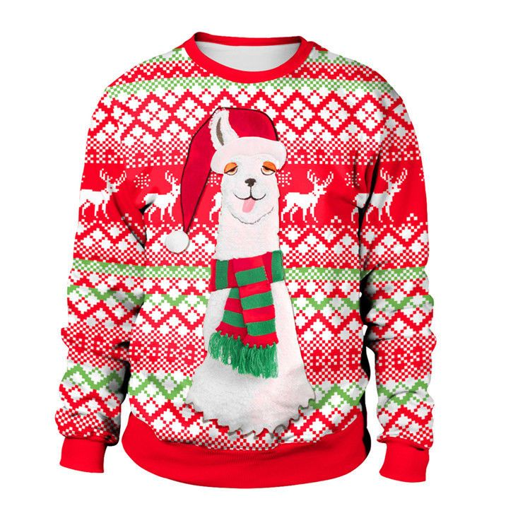 New Llama Ugly Christmas Sweatshirt Sweater Green Long Sleeve Mens
