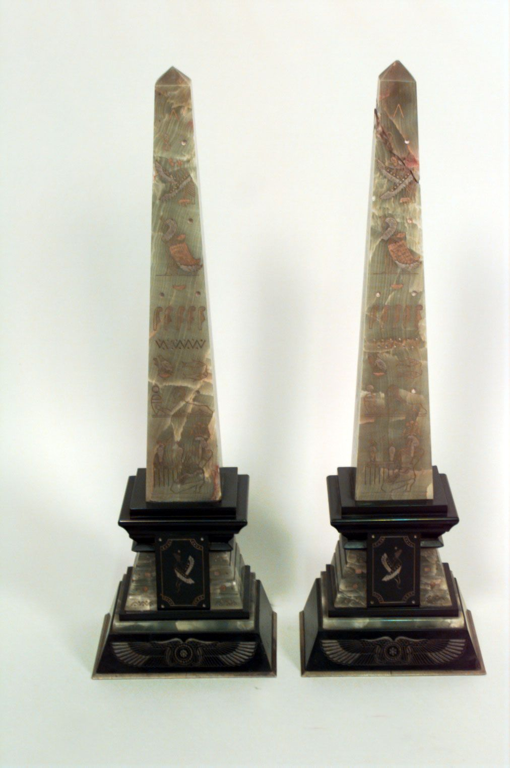 Pair Egyptian Green Onyx And Black Marble Obelisks Black Marble Egyptian Accessories Green Onyx