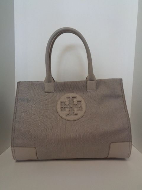 Keeks Designer Handbags Tory Burch Gray Canvas Ella Tote 219 99