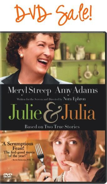Score another pre Black Friday deal on this Julie and Julia DVD Sale: $3.96!!  Add it to your movie collection, or stash away a fun Christmas gift or Stocking Stuffer!