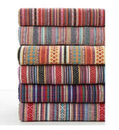 Bohemian style Rainbow Stripe Cotton Fabric cotton
