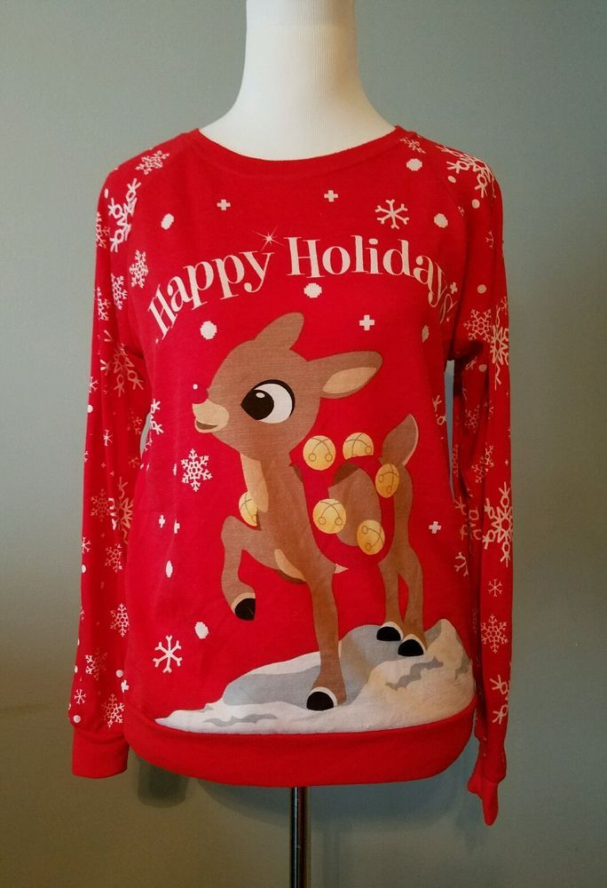 Rudolph The Red Nose Reindeer juniors Ugly Christmas Sweater top ...