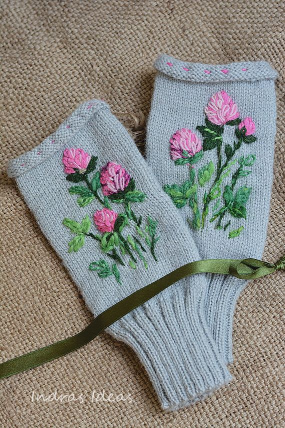 Free shipping Fingerless mittens Hand Knitted  by MySunsetColor