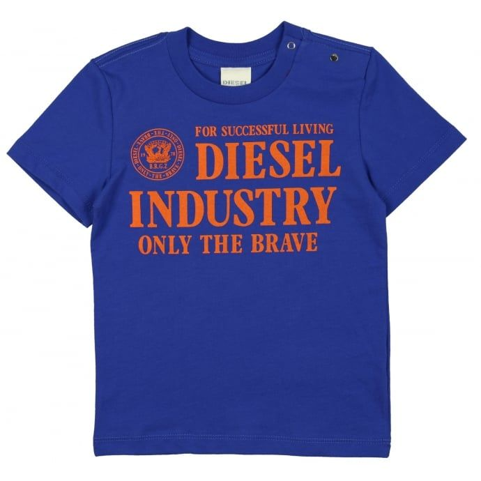 48794526 Diesel Baby Boys Blue T-Shirt with Orange Lettering and Logo Print ...