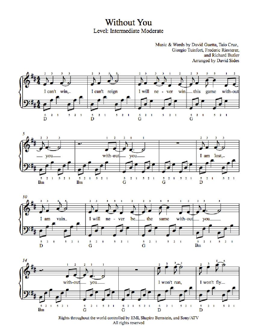 Without You by David Guetta Piano Sheet Music | Intermediate