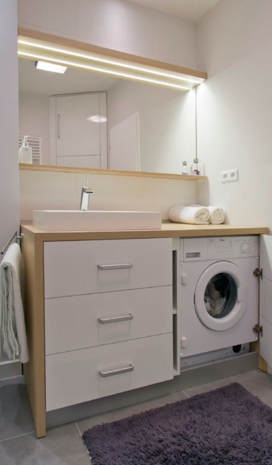 Washing machine in bathroom | Designs de petite salle de ...