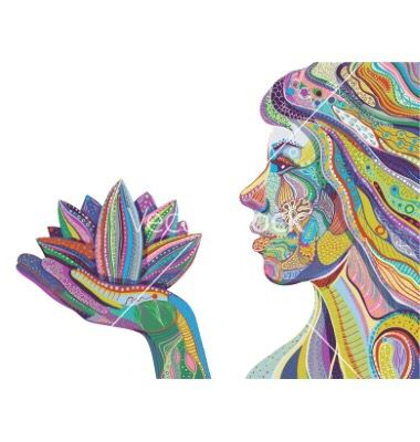 Profile of girl holding a lotus flower color art