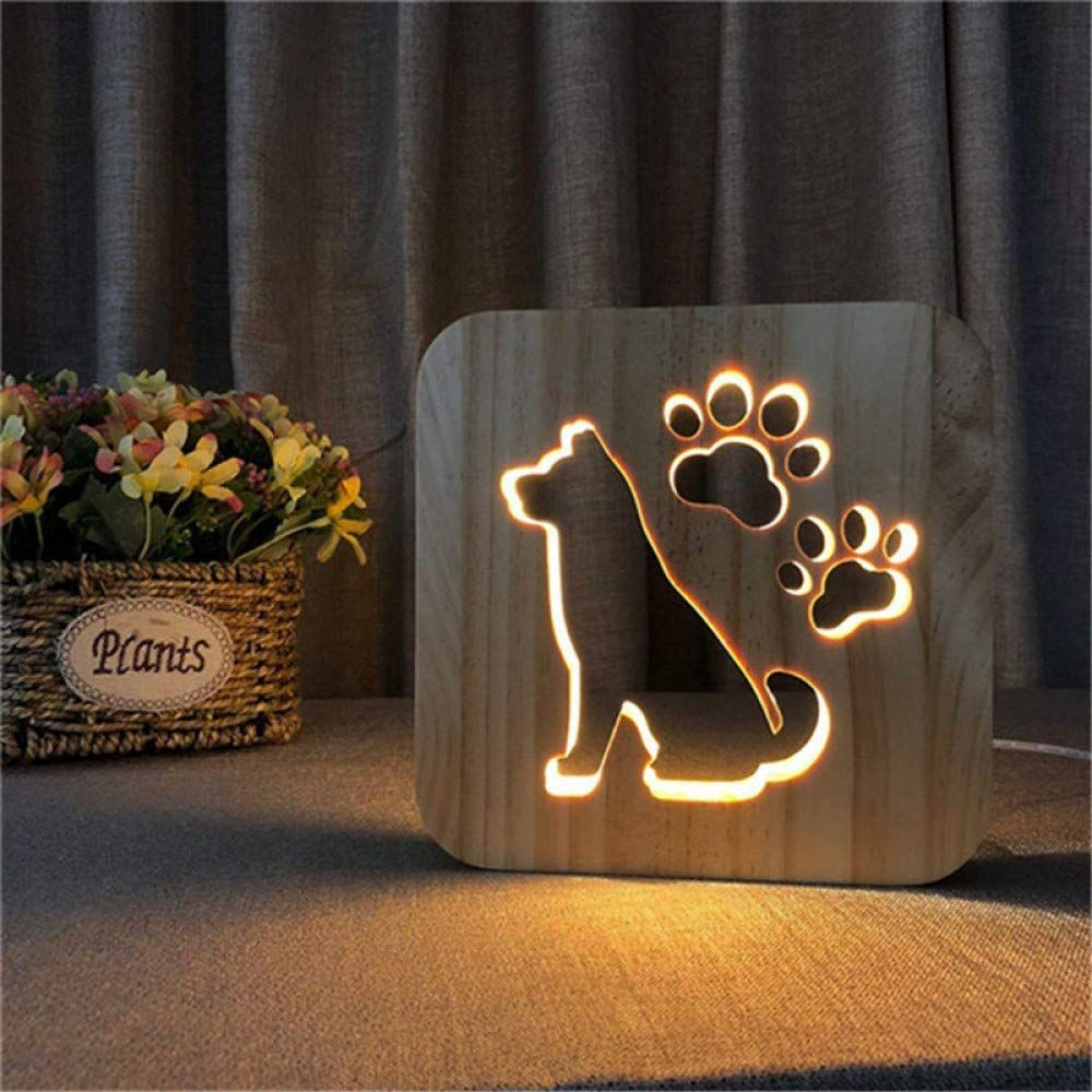Hiojdwa Night Light3d Dog Paw Wooden Led Lamp Kids Dog Lamp Animal Lamp Wooden Lamp