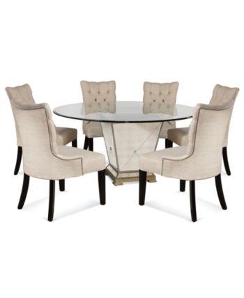 Marais Dining Room Furniture 7 Piece Set 60 Mirrored Dining