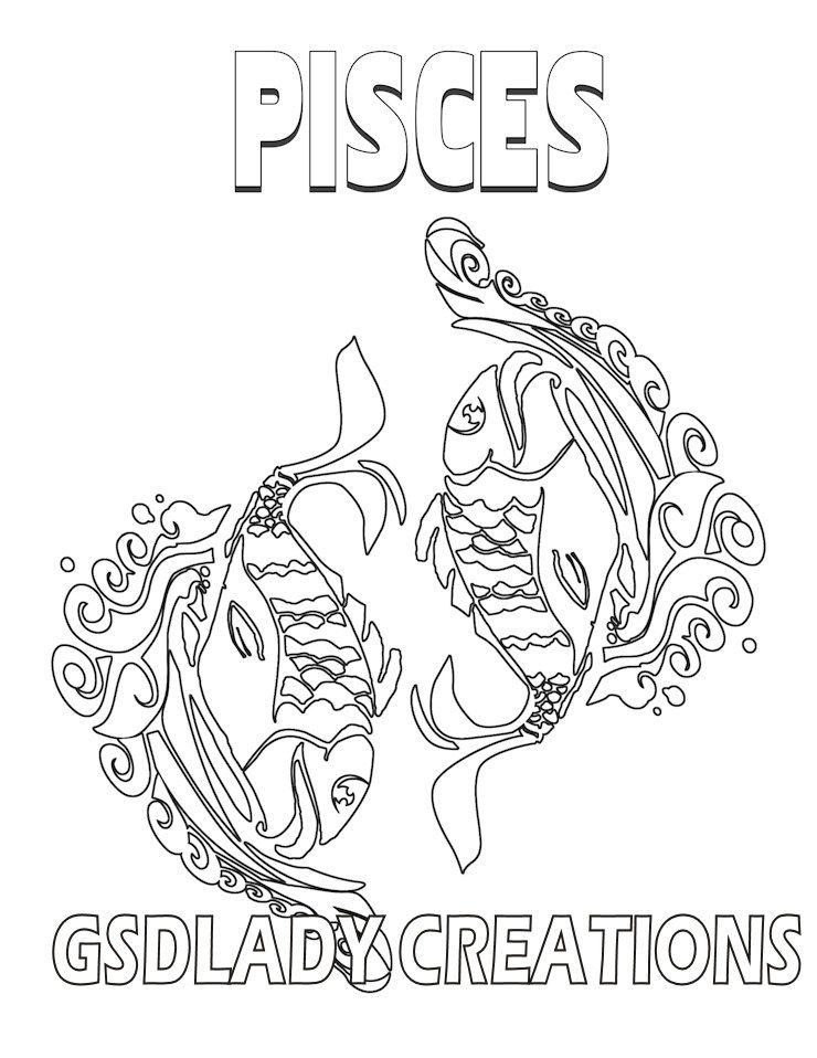 pisces zodiac star sign art print astrology print coloring page