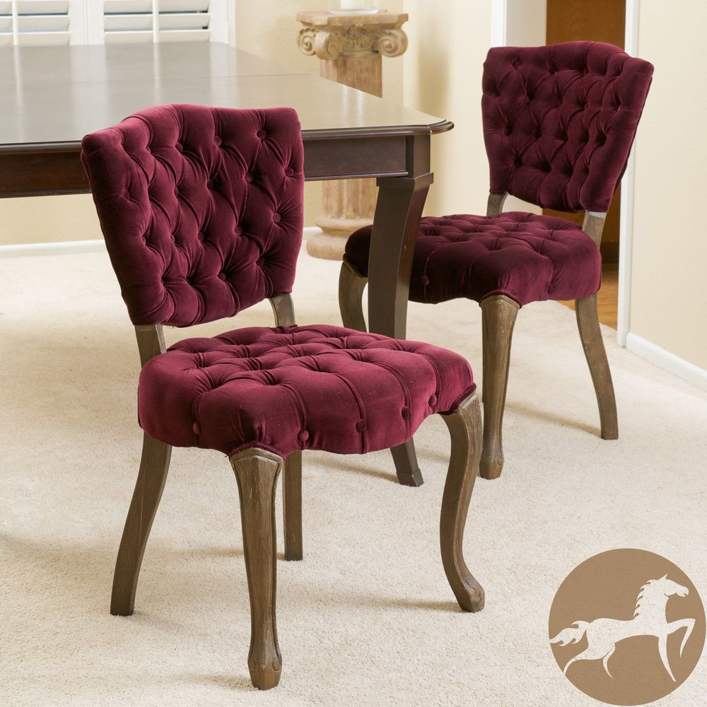 Purple Christopher Knight Home Bates Tufted Dark Fabric Dining Chairs