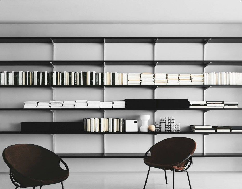 nice looking modern shelving. Modern Contemporary Stainless Steel Wall Rack Shelves For Book Storage And  Black Armchairs On White Ceramic